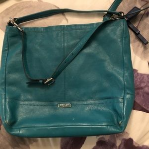 turquoise crossbody coach bag